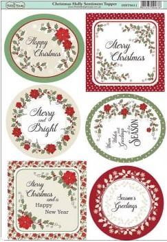 Christmas Toppers For Card Making.Hobby House Toppers Christmas Holly Sentiments