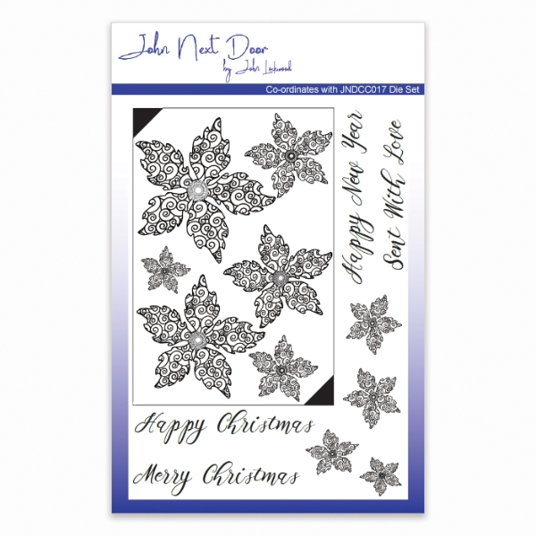 John Next Door Christmas Dies.John Next Door Clear Stamp Swirl Poinsettia