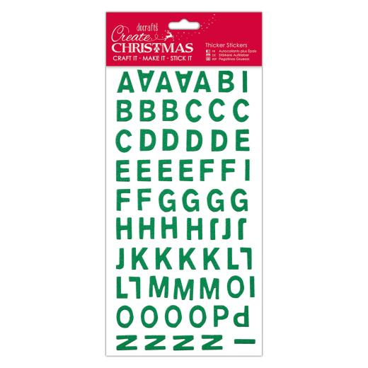 Christmas Alphabet.Papermania Create Christmas Christmas Alphabet Thicker Stickers Green Glitter