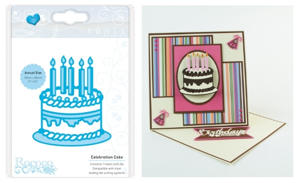 a die of a birthday cake and an example card made using it